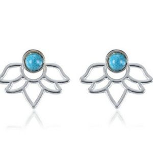 ❤️gorgeous lotus silver turquoise flower earring